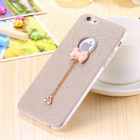 for iPhone 6 6S 4.7 Girl Woman Case Soft Silicon + Bling Luxury Dianmond Rhinestone Bow-knot Stylish Girly Phone Cover Back Capa