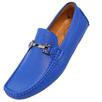 Amali Mens Perforated Smooth Driver, Comfortable Loafer Shoe, Casual Driving Moccasin, Style Nolan