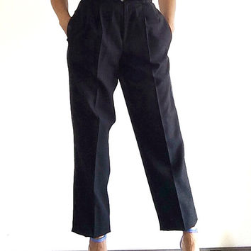 1980s ladies tuxedo trousers / Vintage black trousers with tux stripe / Womens cigarette trousers / High waisted cigarette pants W25.5 L40
