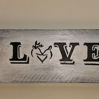 Wood Sign - LOVE - Buck and Doe - Deer Silhouette Wall Art - Wedding - Home Decor - Valentine's Day Gift