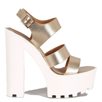 Gold Chunky Heel Open toe Lug Sole Sandals