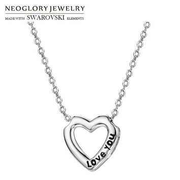 Neoglory S925 Silver Plated Long Pendant Charm Necklace Romantic Cute Love Heart Letters Allergy Free For Anniversary Gift