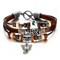 Leather Bracelet for Women Multilayer Charm Bangle Wrap Braided Rope Bohemia,20cm