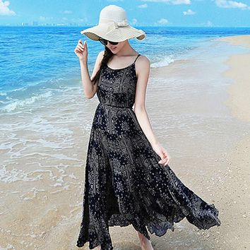 New Arrival 2018 Women Dress Sexy Spaghetti Strap Summer Beach Maxi Long Dress Casual Elastic Waist Bohemian Print Vestidos
