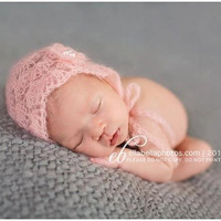 FREE SHIPPING CODE - Delicate Baby Pink Mohair Bonnet