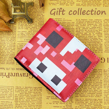 Minecraft wallet Leather Red color, Gift Wallet Luxury