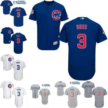 2016 World Series Champions patch Men's Chicago Cubs ##3 David Ross Alternate Road Cool Base Flexbase Collection baseball Jersey stitched