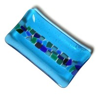 Turquoise Art Glass Plate with Mosaic Style Stripe, Kiln Formed Glass