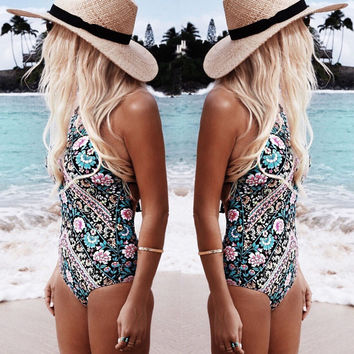 2017 Ladies Retro Sexy Floral Monokini High Cut Trikini Swim Wear Bathing Suit Bodysuit Thong Swimwear Women One Piece Swimsuit