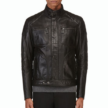 Belstaff Black Grained Leather Weybridge Jacket