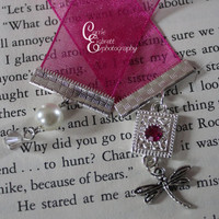 Bright Pink Ribbon Bookmark with pink gem, pearl, dragonfly and crystal charm