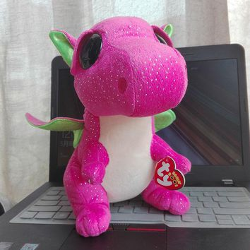 In Stock Original Ty Beanie Boos Big Eyed Stuffed Animal DARLA - dragon pink Plush Doll Kids Toy Birthday Gift