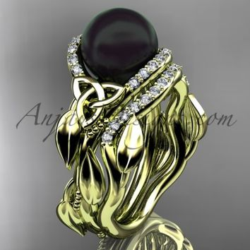 Black Pearl Wedding Set 14kt Yellow Gold Celtic Trinity Knot Bridal Set, Leaf Diamond Engagement Ring CTBP7326S