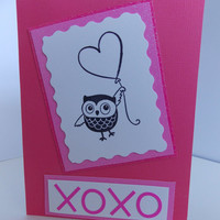 Anniversary Valentine's Day - Handstamped Owl and Balloon XOXO Handmade Greeting Cards - Love Card - Miss You - Just Because