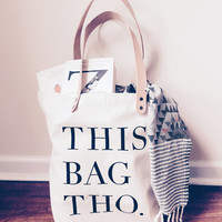 Large Cotton Canvas Tote Bag, Veg Tan Leather Straps. This Bag Tho!