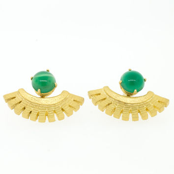 Green Onyx Ear Wings/ Ear Cuffs/ Green Stones/ Gold Ear Cuffs/ Lanie Lynn Vintage Jewelry/ Edgy Lapis Earrings/ Interchangeable Earrings