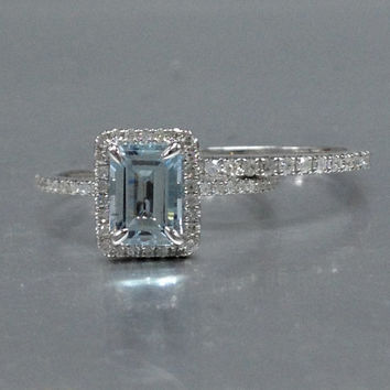 2 Aquamarine Ring Bridal Set,Engagement ring White gold,Diamond wedding band,14k,5x7mm Emerald Cut,Blue Gemstone Promise Ring,Claw Prongs