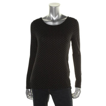 Anne Klein Womens Knit Studded Pullover Top