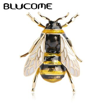 Blucome Cute Bee Fly Insect Brooch Kids Girls Clothes Accessories Gold-color Black Yellow Enamel Brooches Birthday Gifts Jewelry