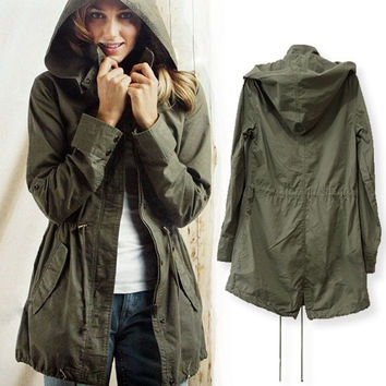 Green Womens Lady Hoodie Drawstring Military Trench Jacket Coat Parka Outwear [8403196679]