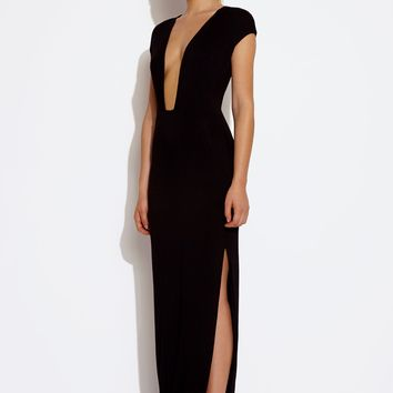 Crave Deep Plunge Maxi Dress - Black