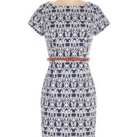 ModCloth Mid-length Short Sleeves Sheath Coffee in the Courtyard Dress