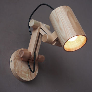 Modern Oak Wooden Wall Lamp (Reading Lights, Creative Decoration,  Sconce Light)