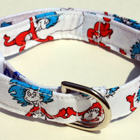 Dr Seuss Thing 1 & 2 Dog Collar Cartoon Size XS, S, M or L