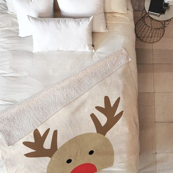 Allyson Johnson Reindeer Fleece Throw Blanket