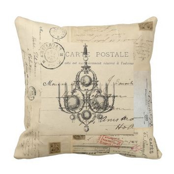Vintage Chandelier French Postcards Pillow