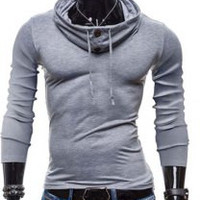 Button Design Piles Collar Long Sleeve T-Shirt