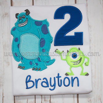 Professionally Embroidered Monsters Inc Birthday Shirt with or without name, message for Custom Order. #VermontCustomWorks