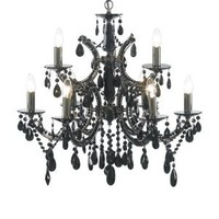 Litecraft - Clarence 9 Light Black Chandelier