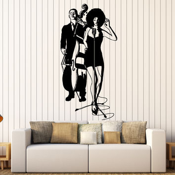 Wall Vinyl Decal Jazz Band Black Girl Singer Music Bar Home Interior Decor Unique Gift z4414