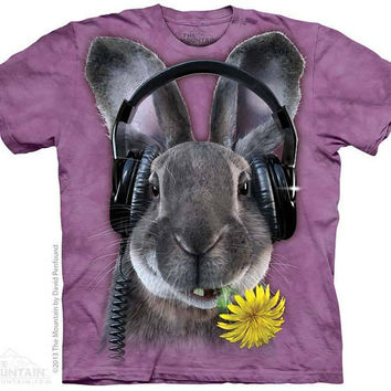 woman's t-shirt, rabbit, stonewashed, multicolored,dj hip hop bunny, size small brand new 100% preshrunk cotton