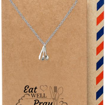Laney Gifts for Mom Chefs Fork Spoon Jewelry Charm Necklace