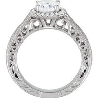 Hand Engraved Engagement Ring 0.15pt