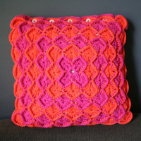 Crochet Pillow Cover in Pink and Orange