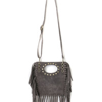 Gray Suedette Stud And Eyelet Detail Fringed Cross Body Bag