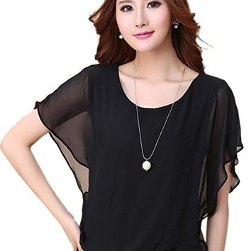 Syuer® Women's Loose Casual Short Sleeve Chiffon Top T-shirt Blouse