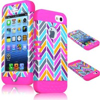 Bastex 2in1 Hybrid Rocker Case for Apple iPhone 5, 5th Generation - Hot Pink Silicone with Pink, Gray, Blue, & Orange Neon Colors - Chevron Style Hard Shell