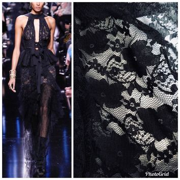 SALE! Designer Fabric Stretch Nylon French Lace Black Floral By the Yard