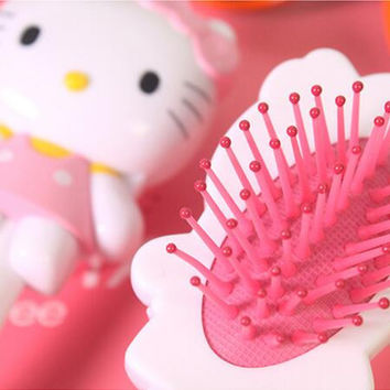 High Quality Cartoon Brand New Baby Girls Hair Brush Hello Kitty Comb Masage Kids Hair Comfortable Touch Beauty Makeup Cosmetics