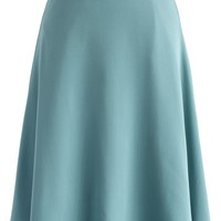 Savvy Basic Belted A-line Skirt in Steel Blue