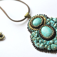 Beadwork Blue Pendant, Oval Turquoise Blue Necklace, Bead Embroidered Jewelry.