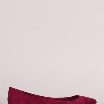 Breckelle Vegan Suede Pointy Toe Flats