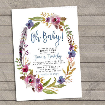 Boho Chic Floral Baby Shower Invitations