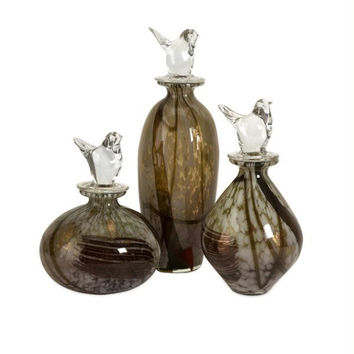 3 Art Glass Bottles - Bird Stoppers