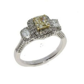 1.50ct Antique Style Cushion Cut Yellow Diamond Engagement Ring in 14k white gold size 7.0