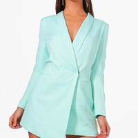 Petite Tara Asymmetric Blazer Dress | Boohoo